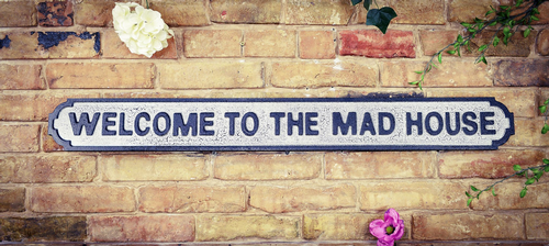 Welcome to the Mad House Vintage Road Sign / Street Sign